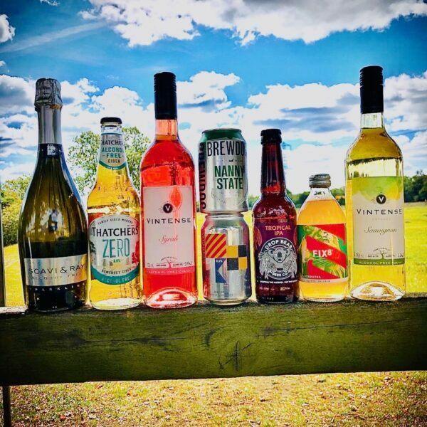 Bottles and cans of vegan and gluten free beers, wine, cider and kombucha